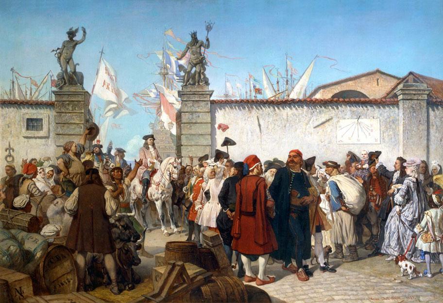 La proclamazione del Porto Franco di Trieste Cesare Dell'Acqua 1855, pittura, olio su tela